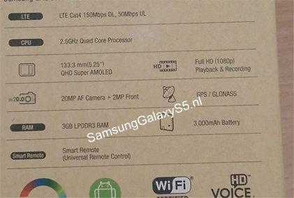 Характеристики Galaxy S5