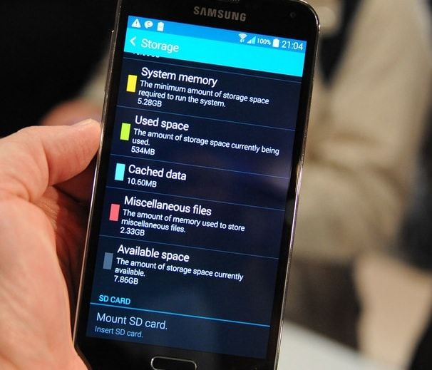 samsung galaxy s5 storage