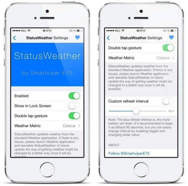 Как отобразить в статус-баре iOS 7 информацию