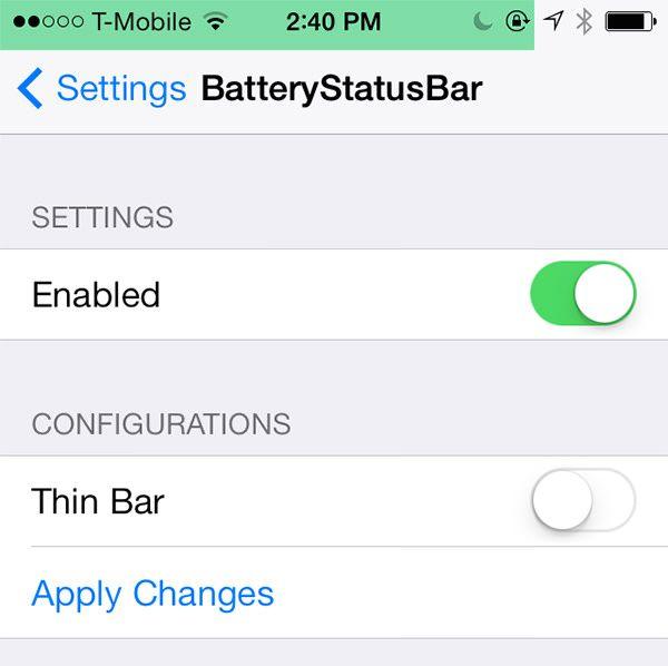 Настройки BatteryStatusBar