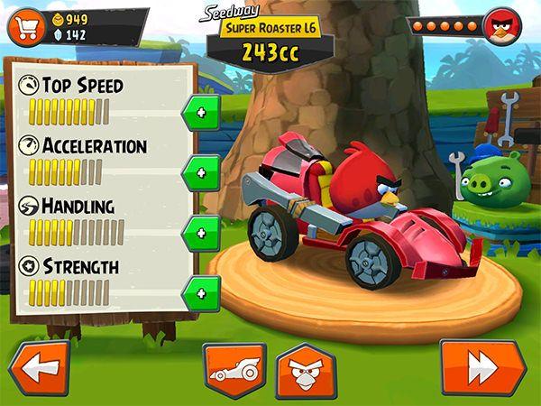 Angry Birds Go! совершенствую транспорт