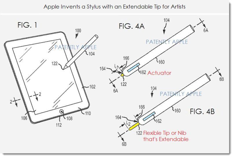 Патент выдвижного стилуса от Apple