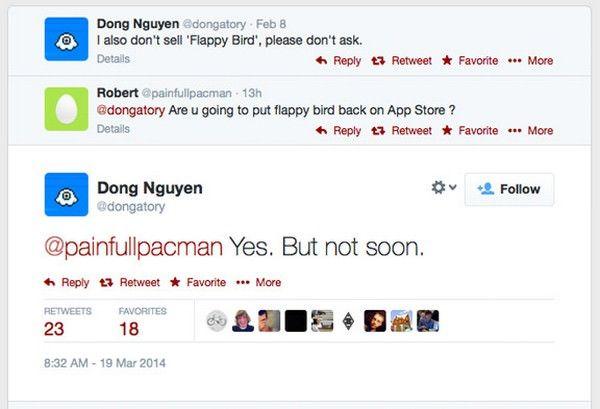Донг Нгуен пообещал вернуть Flappy Bird