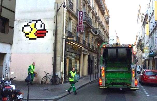 flappy bird графиити в Париже