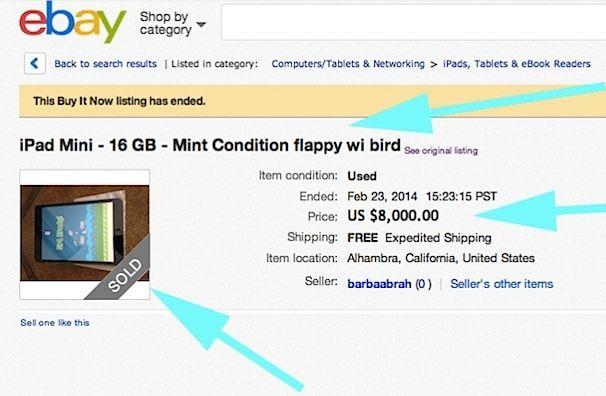 ipad с flappy bird продан на eBay за 8000