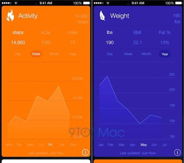 health book iOS 8 cards