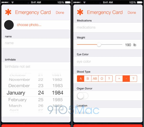 health book iOS 8 emergency