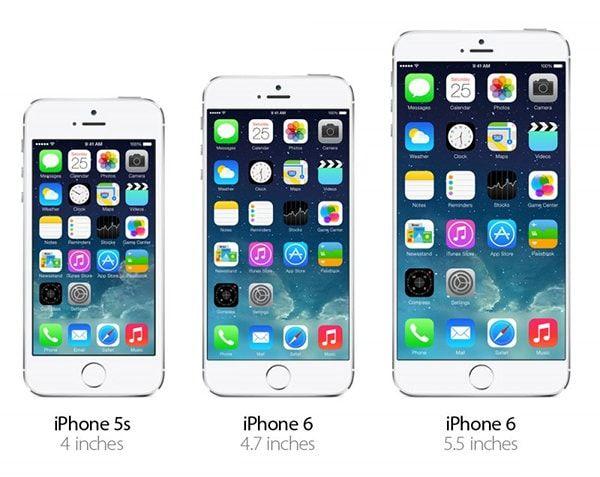 Сравнение размеров iPhone 6