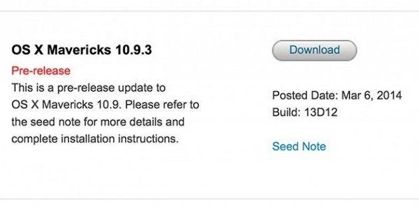 бета-версия OS X Mavericks 10.9.3