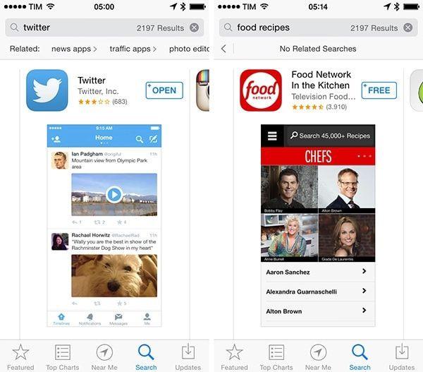 Рекомендации в App Store по слову Twitter
