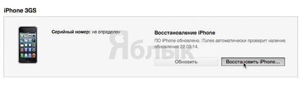 восстановление iPhone 3gs