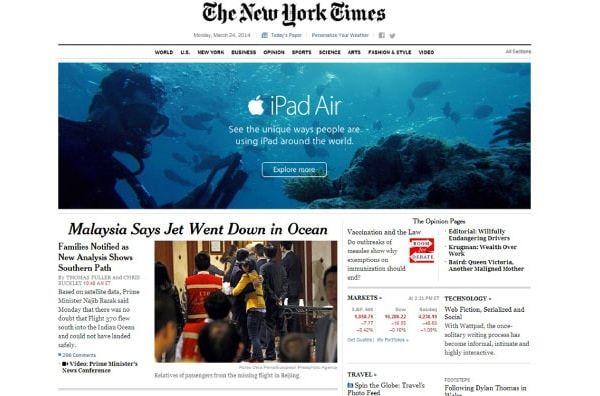 Реклама iPad в NYT