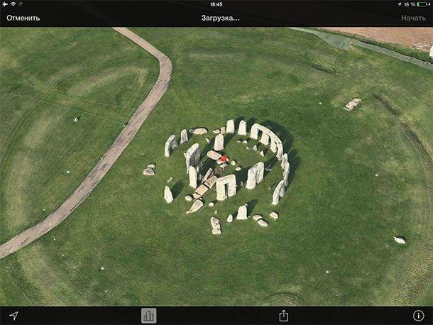 3D экскурсия по Стоунхенджу в Apple maps
