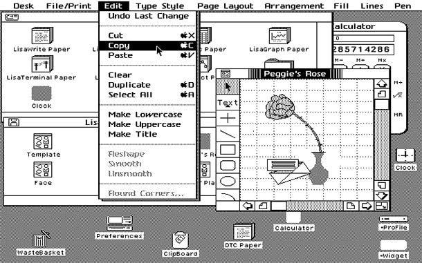 Apple Lisa графический интерфейс
