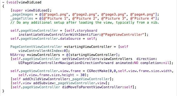 часть кода pageview