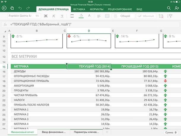 Excel для iPad