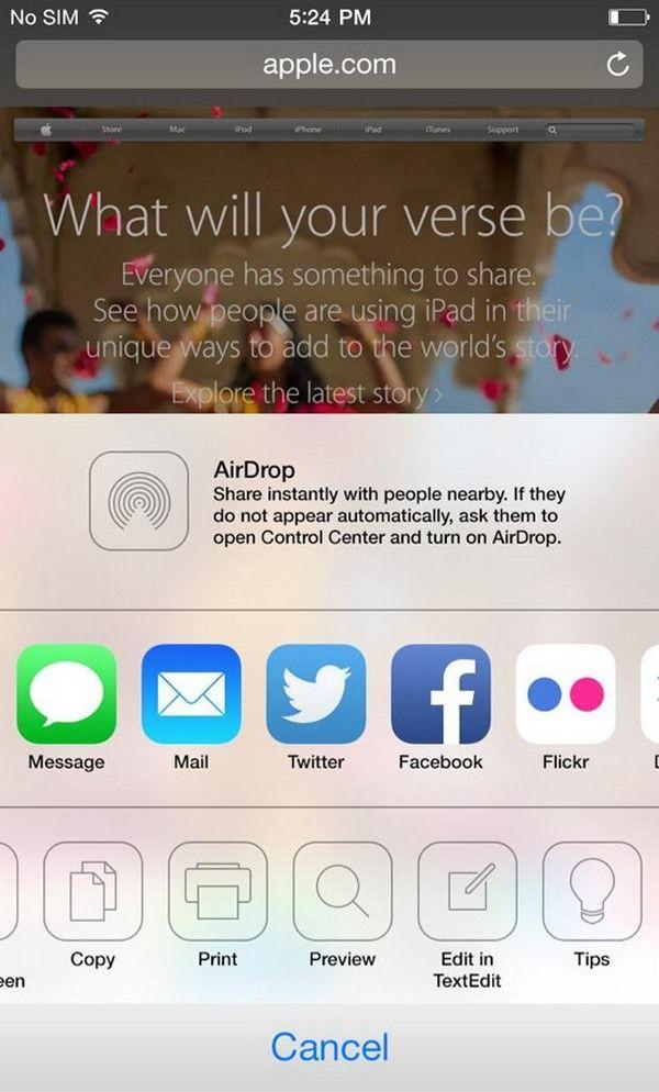 скриншот iOS 8 на iPhone 6