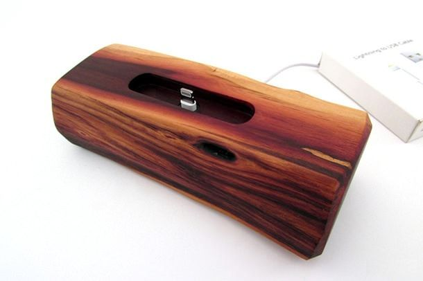 iPhone 5s Natural Manzanita Wood Docking Station USB