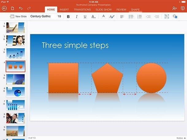 Направляющие в PowerPoint для iPad