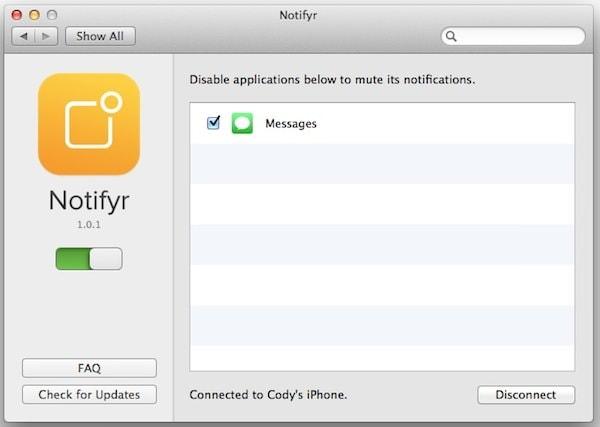 notifyr - уведомления с iPhone на Mac