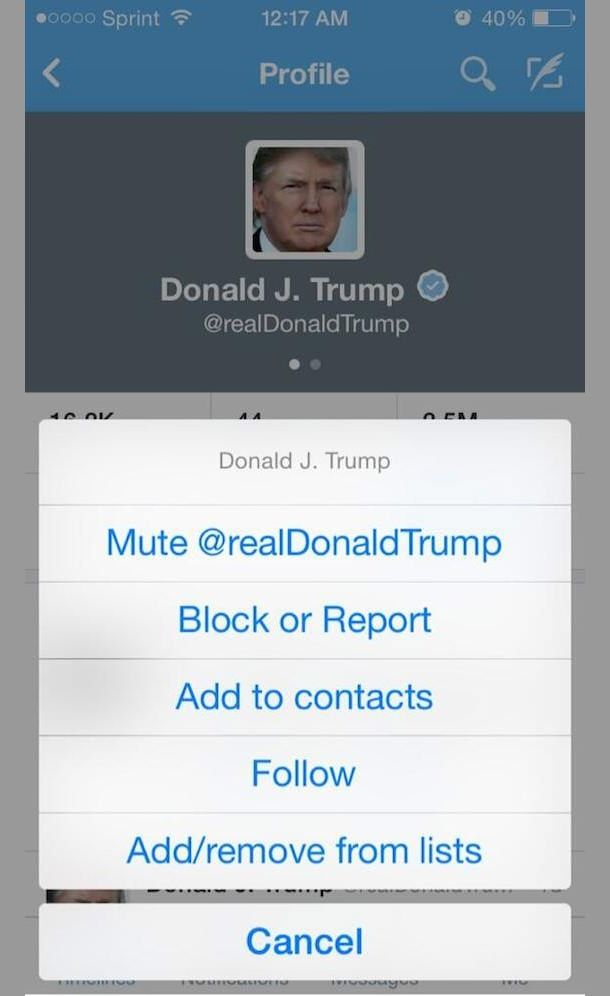 Новая функция mute в Twitter