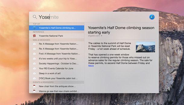 Поиск в Yosemite