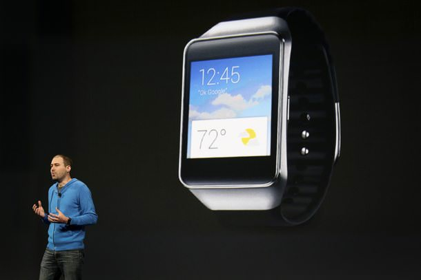 David Singleton announces a new Samsung Android Wear smartwatch at the Google I/O developers conference in San Francisco