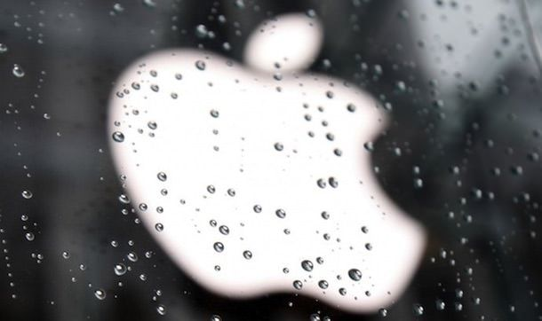 apple logo rain