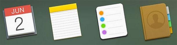 Calendar, Notepad, Contacts