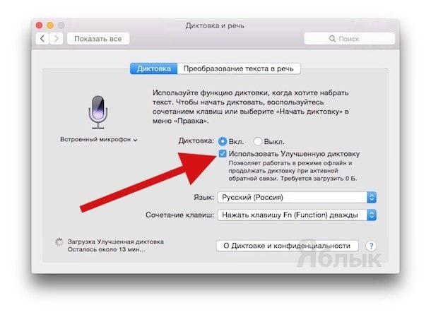 Диктовка на Mac OS X