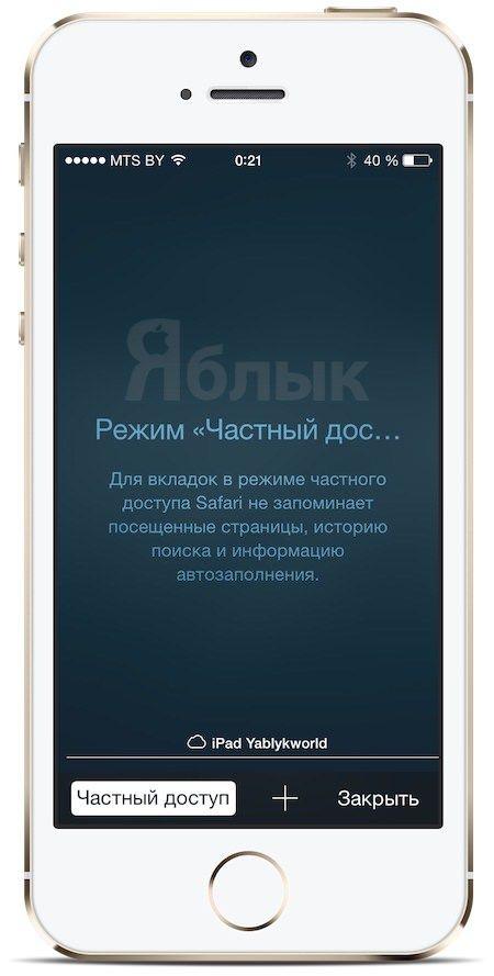Частный режим в Safari iOS 8 beta 2
