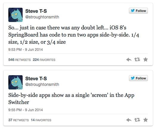 Два приложения на экране iPad