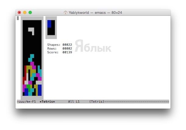 Тетрис в терминале Mac OS X