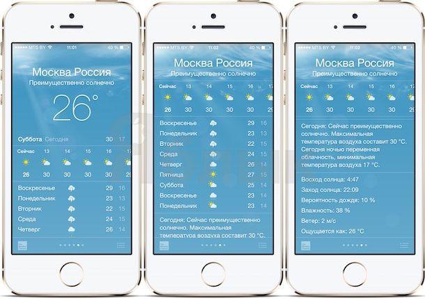 Погода в iOS 8 на iPhone 5s