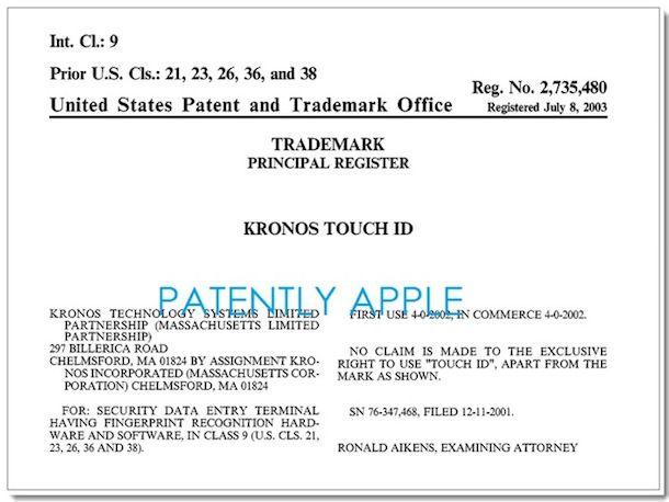 Apple отказали в регистрации марки Touch ID