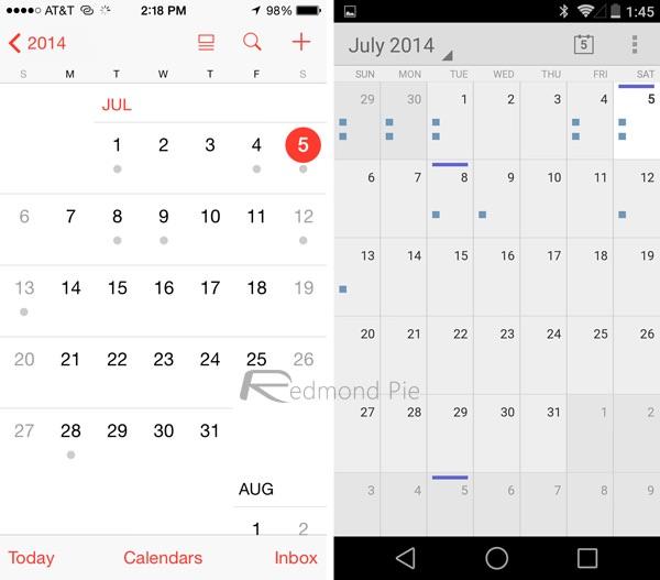 Календарь ios 8 vs android l