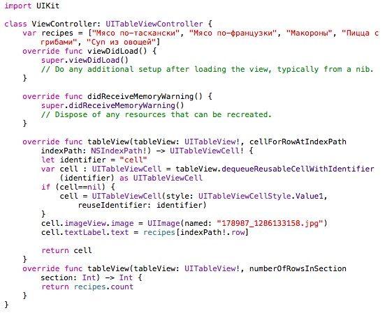 Код для UITableView