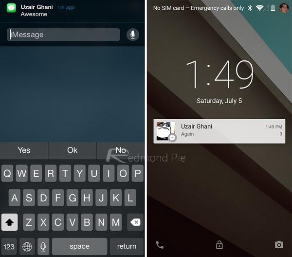 уведомления ios 8 vs android l
