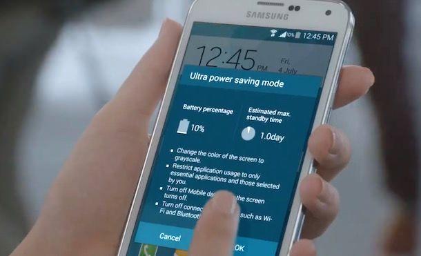 режим сохранения энергии в Samsung Galaxy s5