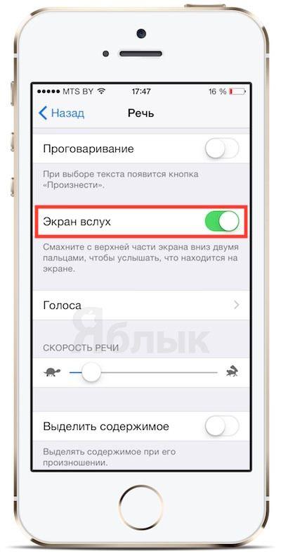 Экран вслух в iOS 8