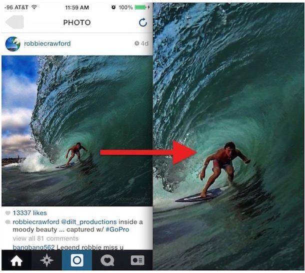 Как увеличить фото в Instagram