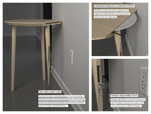 Soak - концепт столика с беспроводной зарядкой для iPhone и iPad
