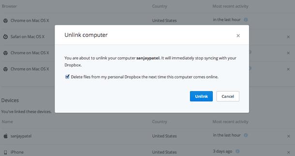 Dropbox Pro unlink