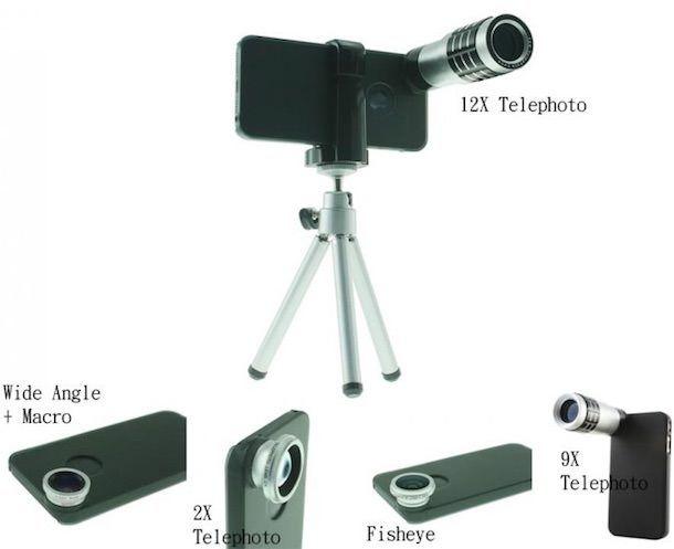 usbfever Fisheye Wide Angle 2X-9X-12X Telephoto Lens для iPhone 5s