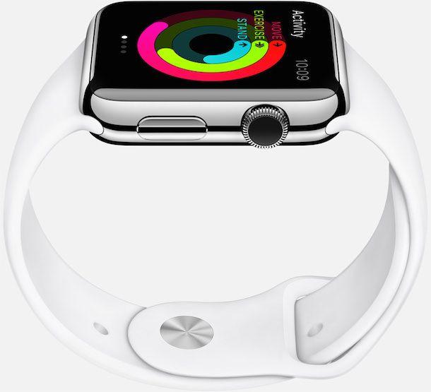Apple Watch steel case white sport band