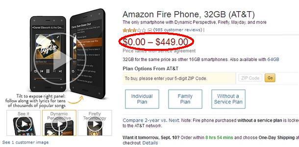 В преддверии выхода iPhone 6 Amazon продает свои Fire Phone всего за $0,99