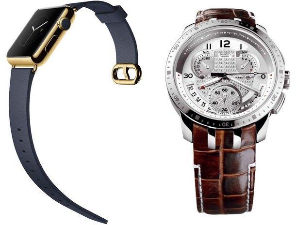 Слева - Apple Watch, Справа - Swatch Tissot