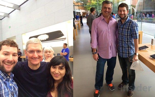Тим Кук и Эдди Кью в Apple Store в Пало-Альто
