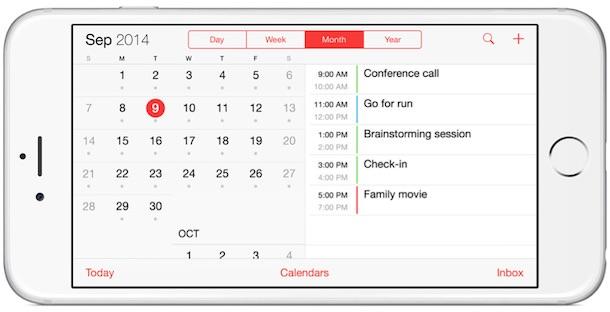 iPhone 6 Plus calendars landscape
