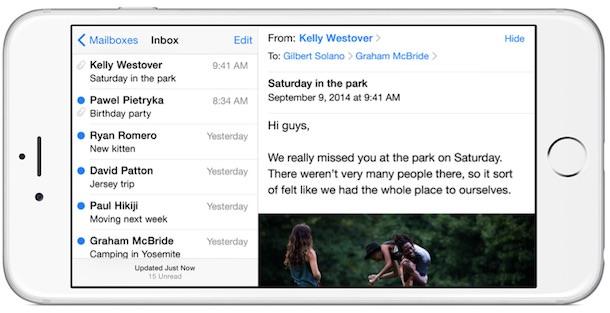 iPhone 6 Plus landscape email